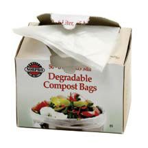 Disposable Compost Bags- Degradable and compostable bags fit most compost keepers. Convenient, no mess. 50 bags per package.