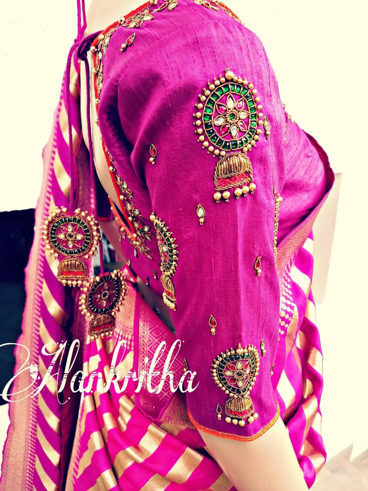 Blouse sleeve embroidery design.... Jewellery work