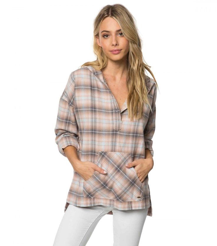 "<p>This lightweight, oversized plaid hoodie is an upgrade from your boyfriend's flannel. Pair this style with denim for a cute and casual look all season long.</p> <ul> <li>O'Neill Women's hooded long sleeve top</li> <li>25 1/2"" in length</li> <li>Button down front</li> <li>Kangaroo pocket</li> <li>High low hemline</li> <li>Allover plaid print</li>..."