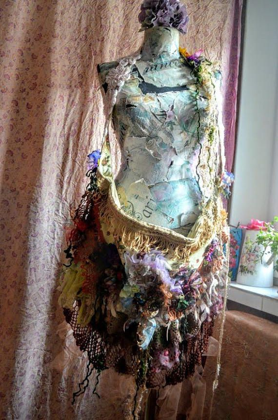 Big bag Bohemian bag gypsy fairy bag altered bag mori girl