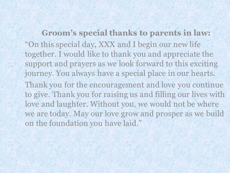 Need tips on writing groom and bride message to their parents? Here are some tips and examples to use in your thank you note. Learn when and how to express your love.