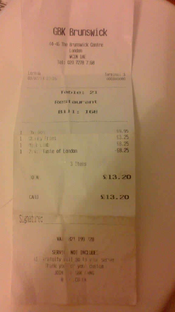 A FREE main course with 2-4-1 at GBK Brunswick, London... saving £8.25!