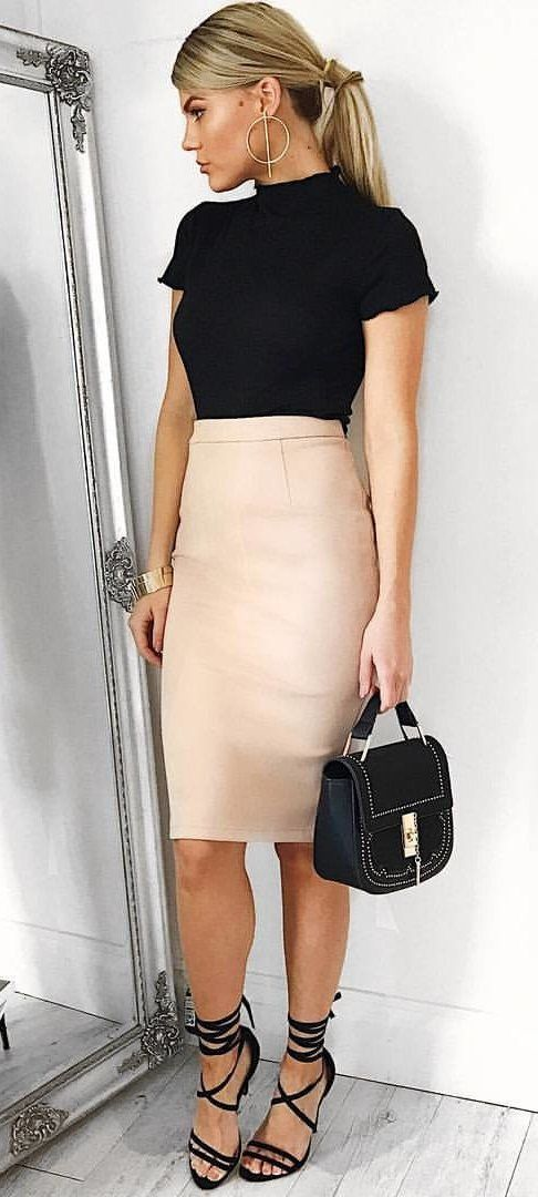 #summer #outfits Black Top + Blush Pencil Skirt + Black Sandals