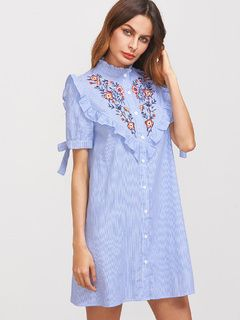 Blue Striped Ruffle Trim Tie Sleeve Embroidered Shirt Dress