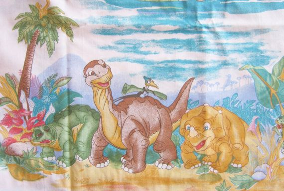 Vintage 80s The Land Before Time Twin Bed Sheet Set Flat