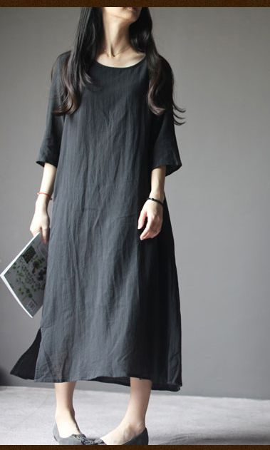 2016 New linen dress. Black linen maternity dress plus size linen summer maxi dresses summer linen clothing
