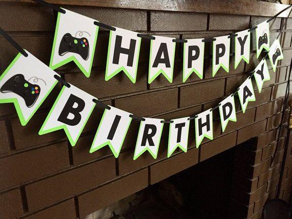 Xbox video game Happy Birthday Banner by ChevysShop on Etsy