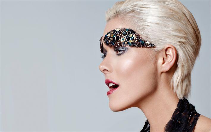 Download wallpapers Leonie Stegink, Danish supermodel, blonde, fashion model, portrait