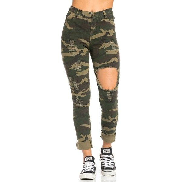 High Waisted Stretch Knit Cutout Distressed Skinny Jeans in Camouflage ($27) ❤ liked on Polyvore featuring jeans, destroyed skinny jeans, camouflage skinny jeans, high-waisted jeans, denim skinny jeans and high rise jeans