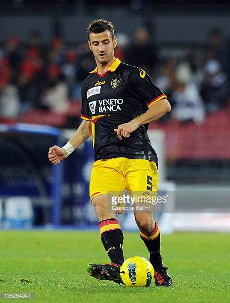Alessio Esposito of Lecce in action during the Serie A match between SSC Napoli and US Lecce at Stadio San Paolo on December 3 2011 in Naples Italy