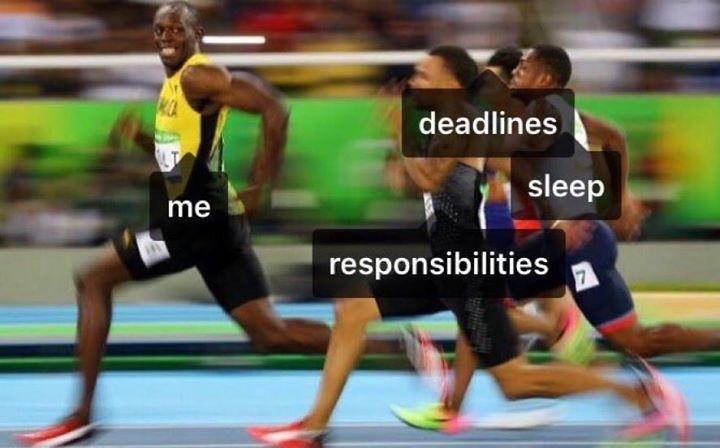 hahaha I'm faster than Usain Bolt... at running away from responsibilities such as studying! ='D  MORE final exam memes: gc.mes.fm/memes