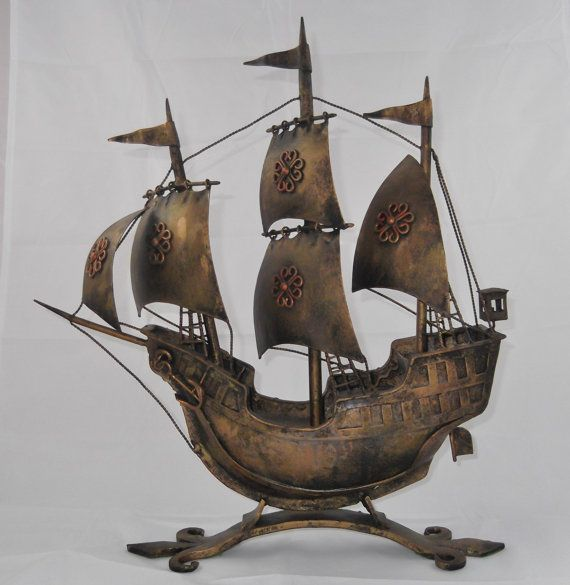 Vintage Metal Sculpture Sailing Ship Made In by SusieSellsVintage, $89.00