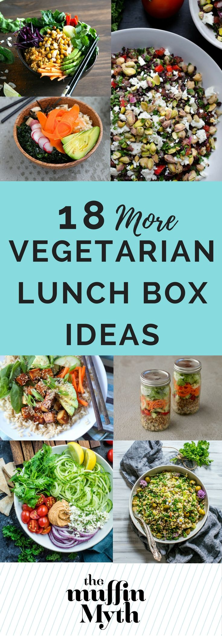18 Vegetarian Lunch Box Ideas: healthy and delicious packable salads and bowls for your vegetarian lunch box.
