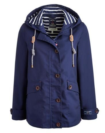 Joules Women's Waterproof Hooded Jacket, French Navy.