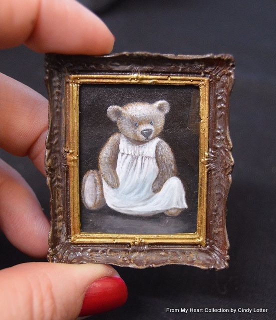 """""""Teddy in Dress"""" - An Original Oil Painting by Cindy Lotter"""