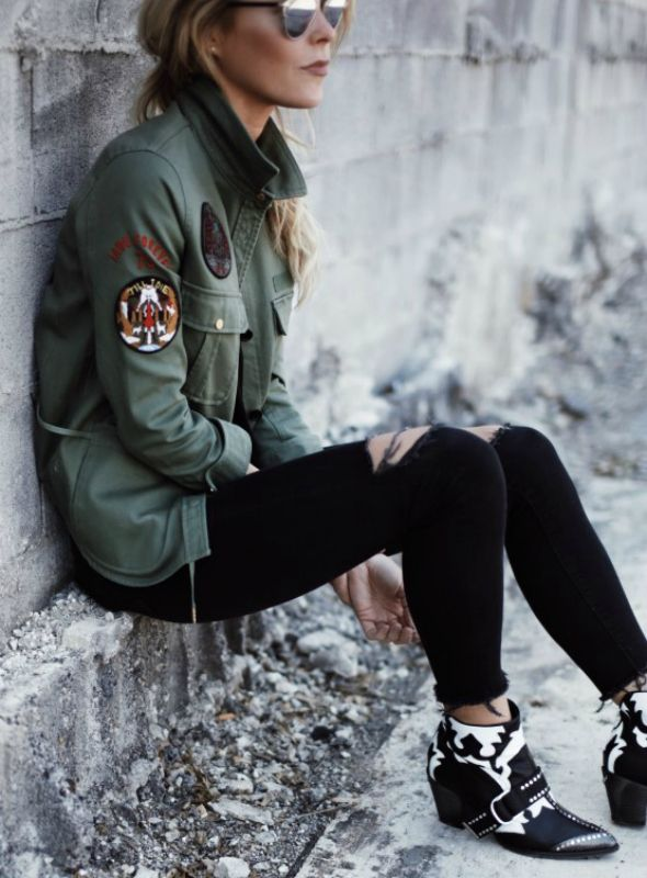 Mary Seng + khaki military jacket + multiple patches + express + original style + plain tee and jeans + keep attention where it should be.   Shirt/Bag/Boots: Zadig & Voltaire, Jeans: Mother.