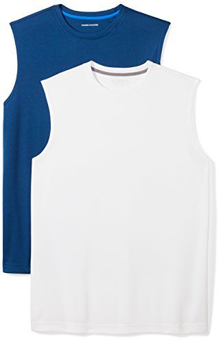 61f535c4b8ebd5 Amazon Essentials Men s 2-Pack Performance Muscle T-Shirts 100% Polyester  Imported Machine Wash Train in confidence with this pack of two sleeveless  muscle ...