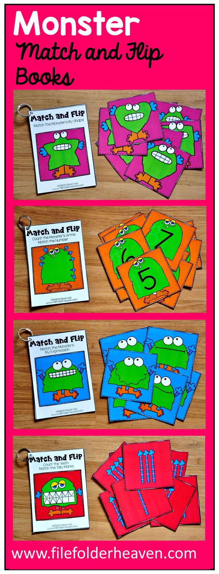 These Monster Matching Activities include 4 Monster Match and Flip Books that focus on basic matching skills. In these activities, students work on matching picture to picture (or by facial expression), matching by counting and matching by shape.  There are four Match and Flip Books included in this download.