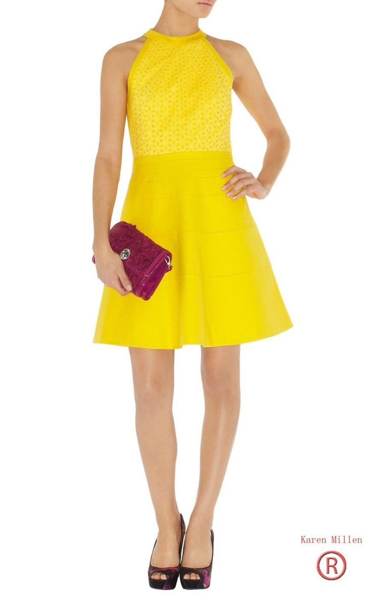Karen Millen Cotton Tailored Dress Yellow Dn034