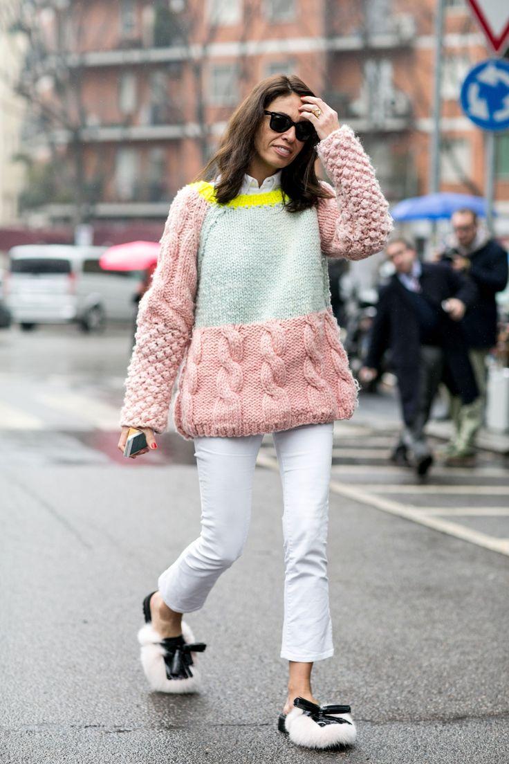 chunky knit. Vivs in Milan. #VivianaVolpicella                                                                                                                                                     Más