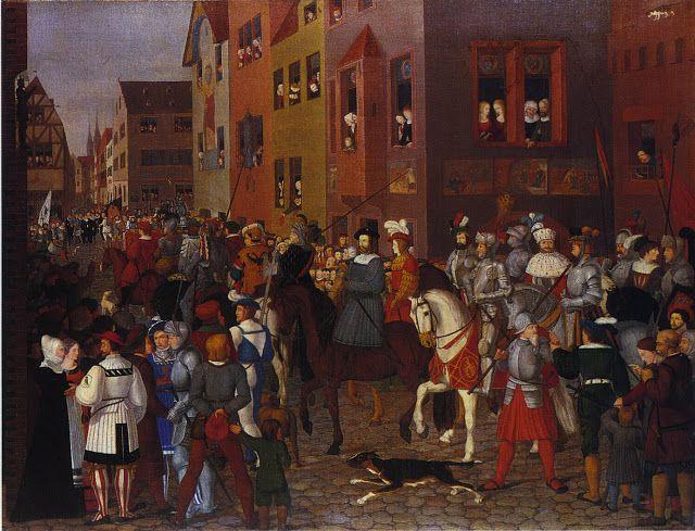 12. Franz Pforr, Entry of Emperor Rudolf of Habsburg into Basel in 1273, 1808 – 1810. Sigue los modelos de la pintura primitiva recuperando unos ambientes populares propiamente germánicos.