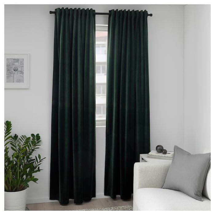 Sanela Room Darkening Curtains 1 Pair Dark Green Ikea