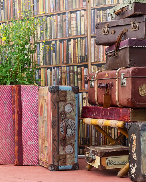 Old suitcases in library surrounded by books.Libraries, Book Lovers, Anarosa, Old Suitcases, Book Beautiful, Quieter Storms, Suitcas Travel, Book Crazy, Vintage Suitcas