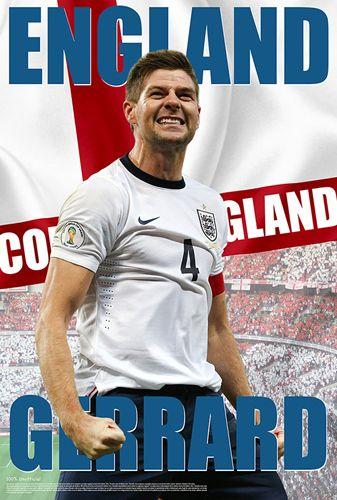Steven Gerrard COME ON ENGLAND World Cup 2014 Soccer Poster - Starz