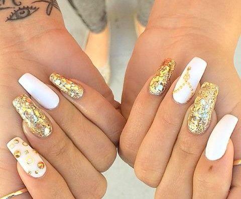 White, Gold glitter, & Gold rhinestones | Square & Coffin ...