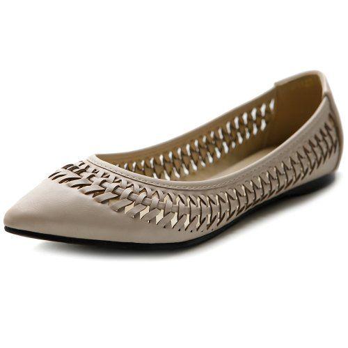 Ollio Womens Ballet Shoe Pointed Toe Weave Comfort Multi Color Flat55 BM US Beige * Click image for more details.