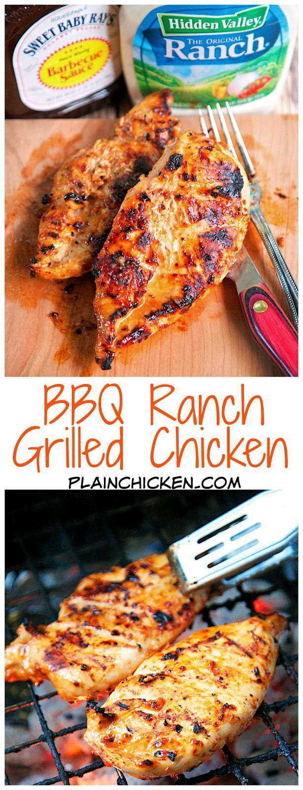 BBQ Ranch Grilled Chicken - only 3 ingredients (including the chicken) - super simple marinade that packs a ton of great flavor! Quick, easy and delicious - my three favorite things!
