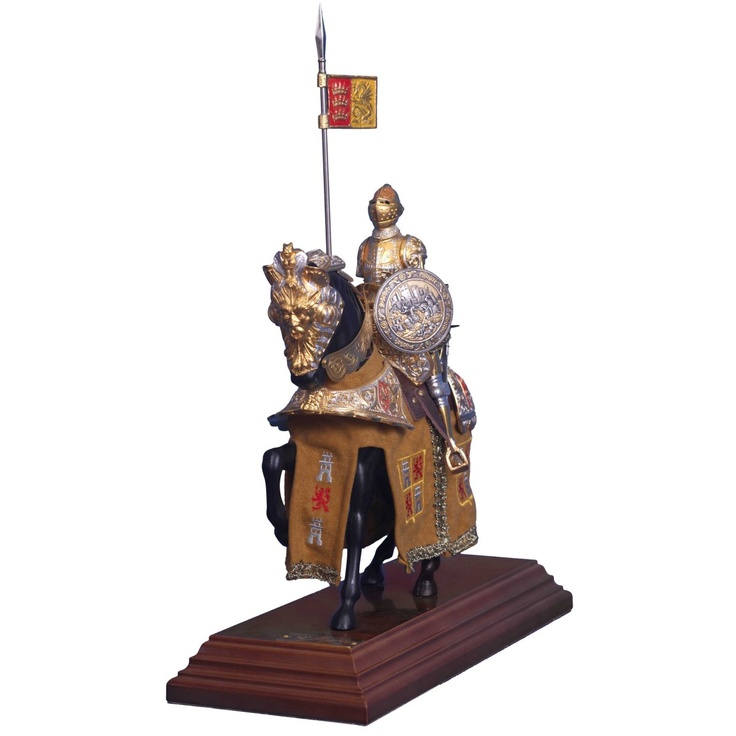 Gold Plated Hand Crafted Medieval Knight Statue!