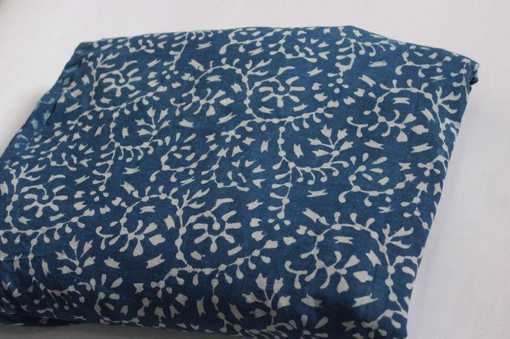 1 yard Indigo Blue Hand Block Ikat Print Fabric Bagaru Cotton Dabu Dress Fabric #KhushiHandicraft