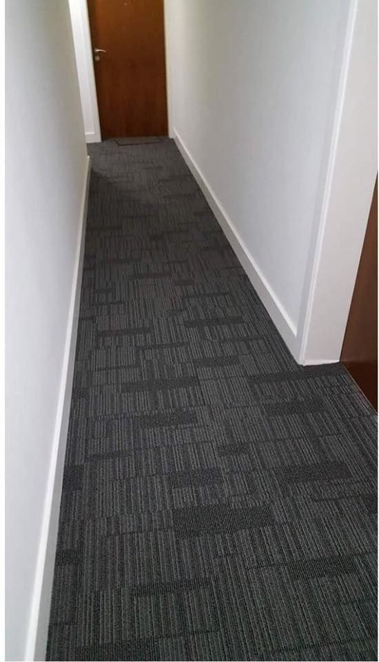 Stripy Carpet tiles in a Commercial area, hardwearing and durable!