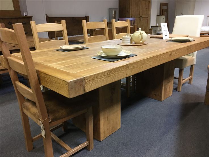 We love this Butchers table with a cube base. Nobody has to sit with a leg! CAN BE MADE ANY SIZE. www.cobwebsfurniture.co.uk
