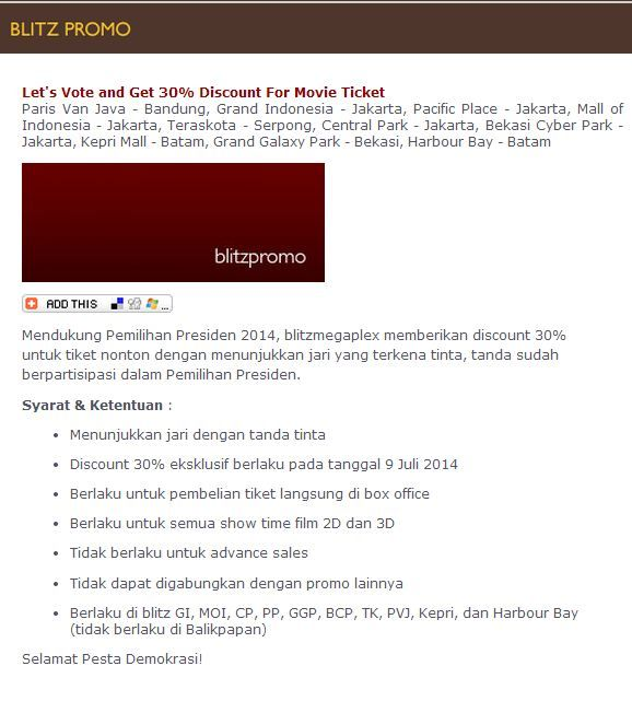 Blitzmegaplex: Let's Vote and Get Discount 30% For Movie Ticket @blitzmegaplex