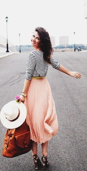 long pink skirt and boho hat from X-treme, stripped top from Plum, skinny camel belt from Aritzia