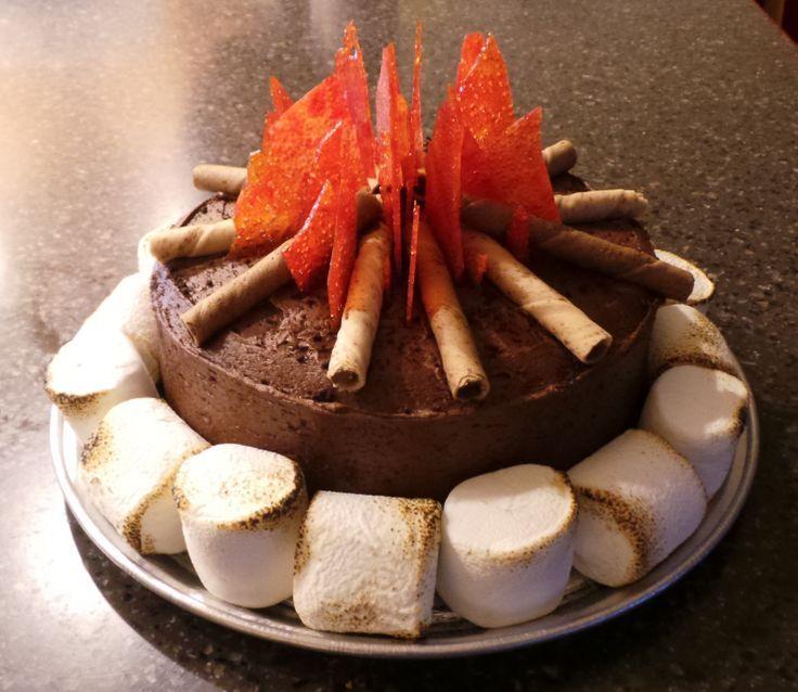 Pinterest+Cub+Scout+Campfire+Cake+cakepins.com