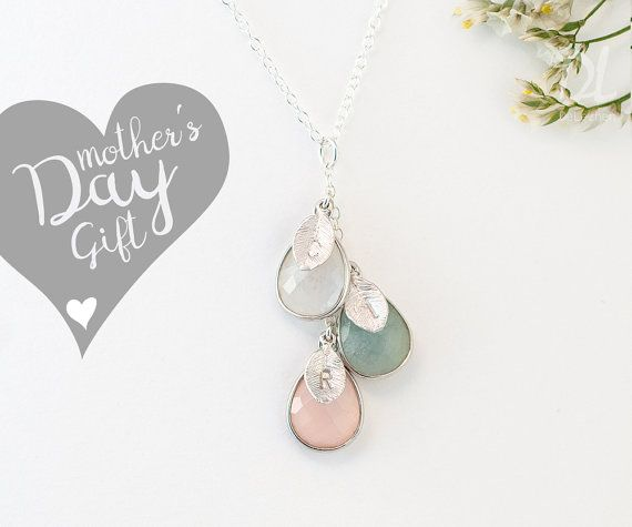 Custom Birthstone Necklace For Mom - Mothers Day Gift - Mommy Necklace - Custom Necklace - Family Necklace - Nana Gift Jewelry - Cascade