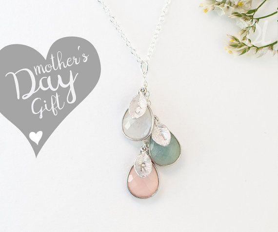Custom Birthstone Necklace For Mom - Mothers Day Gift - Mommy Necklace - Custom Necklace - Family Necklace - Nana Gift Jewelry - Cascade