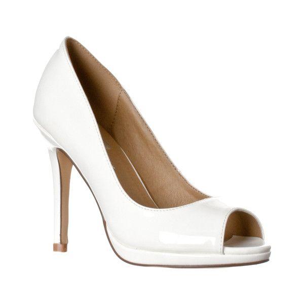 Women's Riverberry Women's 'Julia' Slight Platform Open Toe High Heel... ($27) ❤ liked on Polyvore featuring shoes, pumps, pumps & heels, white, platform shoes, white platform shoes, white pumps, sexy pumps and platform pumps