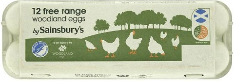 Sainsbury's Woodland Free Range Medium Eggs (12)