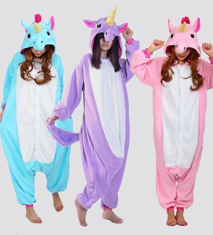 Unisex Onesie Unicorn Tenma Kigurumi Pajamas Animal Cosplay Costume Sleepwear    eBay