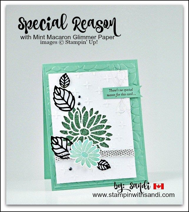 Special Reason Stampin Up card combined with the Sale-a-bration Glimmer Paper Assortment Pack stampinwithsandi.com