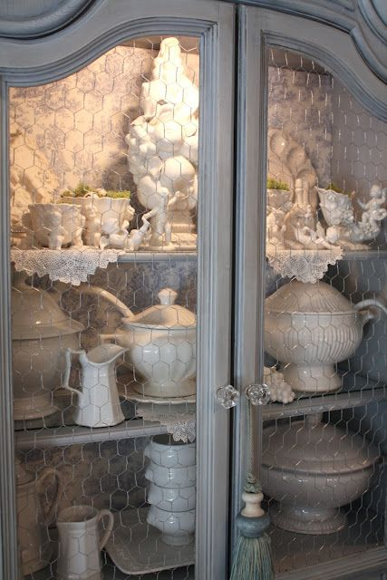 no glass...chicken wireIdeas, The Doors, China Cabinets, Romantic Homes, Grey Cabinets, Chicken Wire, French Country, Gray Cabinets, White Dishes