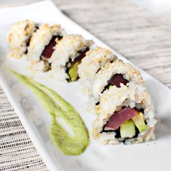 Seared tuna roll with cucumber, avocado, and basil aiolo