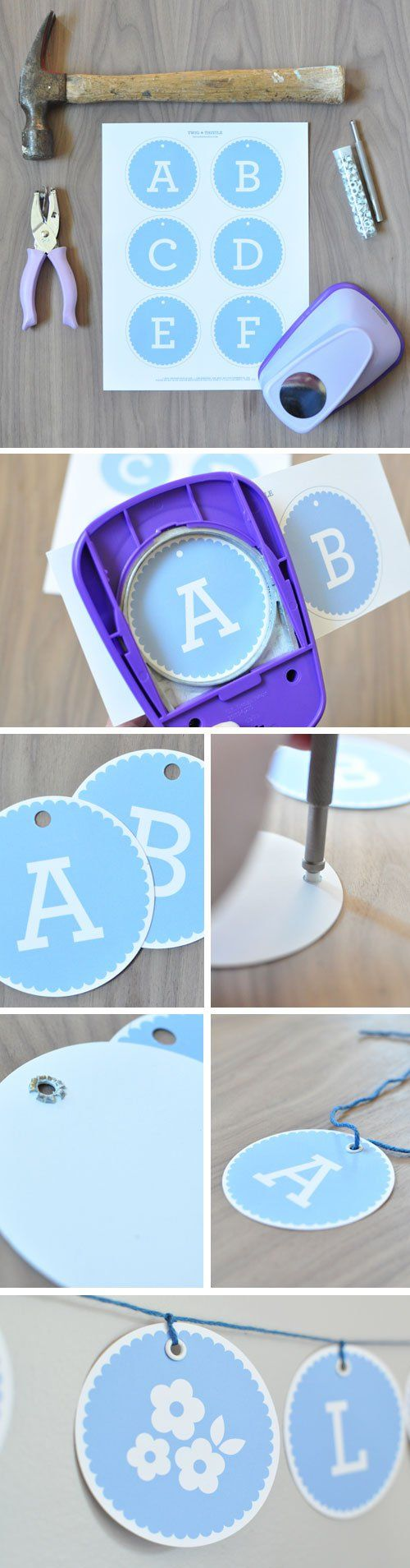 """Free printable - 3"""" circle banner in blue and pink.  Perfect for a baby shower!"""