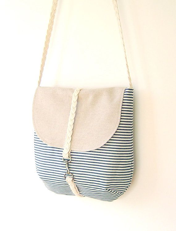 Dark Blue Stripe Cross OR Shoulder Bag with braid strap and bronze closure - Oatmeal Color, Unique Design of BagyBag