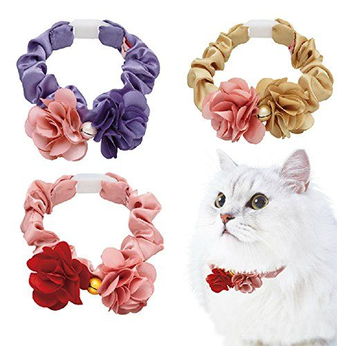 PETIO New Protected Cute Comfortable Cozy Flowers with Reflection Bell Collar for Cat Kitty