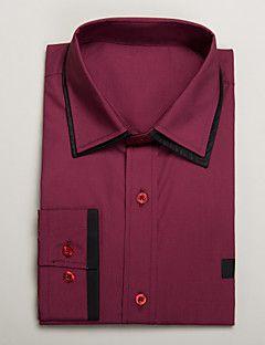 sort&rød bomuld skræddersyet fit langærmet skjorte